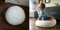 Gehaakte poef Granny Stripes, Knitted Pouf, Stool Covers, Chrochet, Diy Crochet, Deco, Crochet Projects, Bean Bag Chair, Crochet Patterns