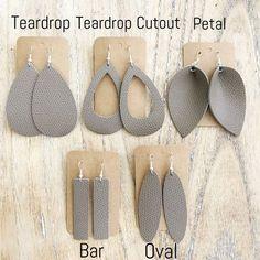 BAR OR TEARDROP CUTOUT Ash Brown Leather Teardrop Earring, leather statement earring, brown leather earring