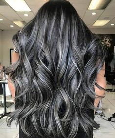 Subtle and Wavy Partial Balayage Hair - 20 Jaw-Dropping Partial Balayage Hairstyles - The Trending Hairstyle Hair Color Purple, Hair Color For Black Hair, Black And Silver Hair, Hair Colors, Gray Hair Highlights, Brown Blonde Hair, Grey Brown Hair, Dyed Hair, Dyed Gray Hair