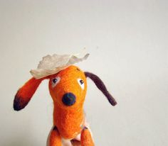 Mini Pepper - Dachshund, Small Art Puppet Lovely Dog Marionette Felted Cute Stuffed Toy. brown orange halloween autumn fall. MADE TO ORDER . by TwoSadDonkeys on Etsy