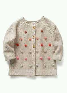 Baby pom pom cardigan - from seed Australia Little Fashion, Baby Girl Fashion, Fashion Kids, Diy Tricot Crochet, Crochet Baby, Knitting For Kids, Baby Knitting, Knitting Needles, Baby Boy Outfits
