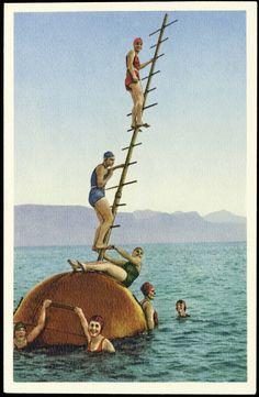 L'attraction, représentée sur une carte de l'hôtel Royal. (DR) Le jouet, un mât flottant, avait fait les beaux jours des Bains d'Ouchy entre 1929 et 1939. Il sera exposé au Musée du Léman Lausanne, Attraction, Vintage Posters, Switzerland, Photo S, Geneva, Poster Vintage, Posters, Toy