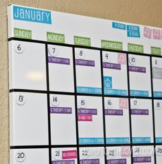 Magnetic Family Calendar at Love From The Oven. Printables avail to print on magnetic sheets.