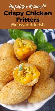 Crispy and delicious chicken fritters (coxinha) for a fun snack or game bites. You can cook them in the air fryer if you want. Get the recipe now! Chicken Spices, Crispy Chicken, Appetizer Recipes, Dinner Recipes, Snacks Recipes, Frango Chicken, Healthy Fruit Snacks, Easy Baking Recipes, Thanksgiving Appetizers