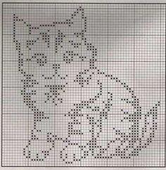 Cute kitty pattern for filet crochet or maybe double knitting. Cute kitty pattern for filet crochet or maybe double knitting. Cross Stitch Charts, Cross Stitch Designs, Cross Stitch Patterns, Knitting Charts, Knitting Patterns, Cross Stitching, Cross Stitch Embroidery, Crochet Minecraft, Crochet Patterns Filet