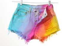 i want to make these rainbow shorts so badly! Love how faded the colors are, I wonder if they have pastel dyes...