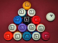 """""""Breaking Balls"""", The Perfect set of Pool Balls for Nerds by Craig Woodward — Kickstarter.  If Heisenberg and Pinkman had a pool table in their lab, they would be playing with these!"""
