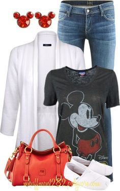 Need to get this outfit (minus the blazer) for disney! -- I want a bunch of Disney shirts/tanks to wear that week A fashion look from April 2013 featuring white top, tee-shirt and Citizens of Humanity. Browse and shop related looks. Disneyland Outfits, Disney Bound Outfits, Summer Outfits, Casual Outfits, Cute Outfits, Summer Shorts, Summer Dresses, Mickey Mouse Outfit, Mickey Shirt