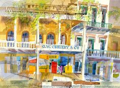 Ken Potter - G.W. Chesley's & Co., Front Street, 1997, California art, original California watercolor art for sale, fine art print for sale, giclee watercolor print - CaliforniaWatercolor.com