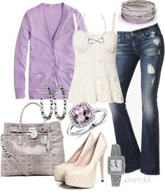 Love the lavender cardigan with a lace cami.  Fashionworship.com