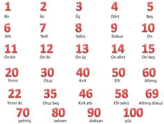 These are some Turkish numbers and their Turkish translations.
