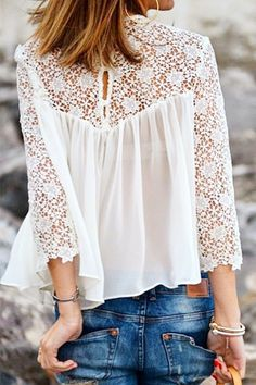 White Lace Splicing Chiffon Long Sleeve T-shirt