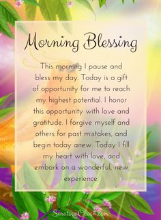 A beautiful way to bring more consciousness into your day is to bless your day with love. Say this affirmation in the morning to bless your day with love, opportunity, and optimism. Then go out and have a wonderful day! <3