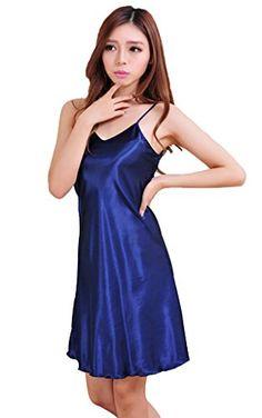 Women Halter Satin Robes Night Gowns Dress Pajama Sleepwear Night Gown Dress 9ef929d20