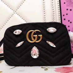 Gucci Velvet GG Marmont Mini Camera Shoulder Bag Crystals 448065 Black 2018 Pink Gucci Purse, Gucci Purses, Gucci Marmont, Gg Marmont, Gucci Handbags Sale, Gucci 2018, Designer Bags For Less, Mini Camera, Purse Wallet