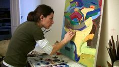 Artist Working On An Oil Painting. View Of Canvas. Stock Footage ...