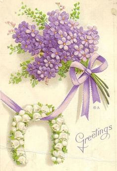 Purple Lilacs and Lily-of-the-Valley Horseshoe