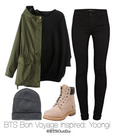 """BTS Bon Voyage Inspired: Yoongi"" by btsoutfits ❤ liked on Polyvore featuring CO, J Brand, Brunello Cucinelli and Timberland"