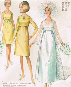 1960s Simplicity 6759 Vintage Sewing Pattern Misses' Wedding Dress Bridesmaid Dress Evening Gown Multiple Sizes