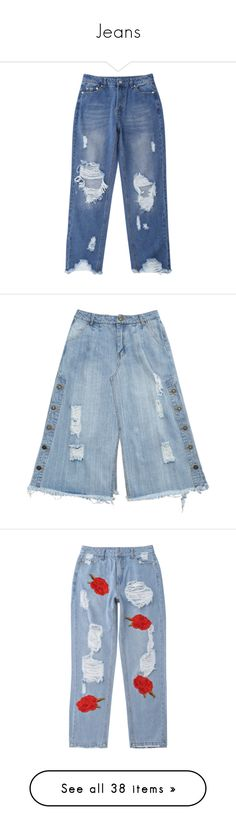 """""""Jeans"""" by zaful ❤ liked on Polyvore featuring jeans, raw hem jeans, ripped denim jeans, blue distressed jeans, distressed jeans, blue denim jeans, zaful, ripped skirt, button down denim skirt and denim skirt"""