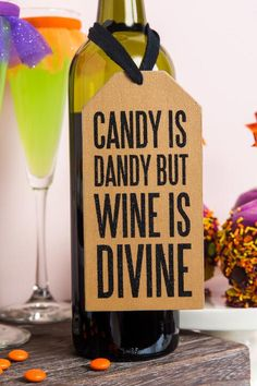 Candy Is Dandy Wooden Wine Bottle Tag