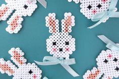 Sweet Easter bunny in hama beads and a small bow to give the final push. - Sweet Easter bunny in hama beads and a small bow to give the final push.Find a free printable templ - Hama Beads Design, Diy Perler Beads, Hama Beads Patterns, Perler Bead Art, Beading Patterns, Hama Perler, Art Perle, 8bit Art, Peler Beads