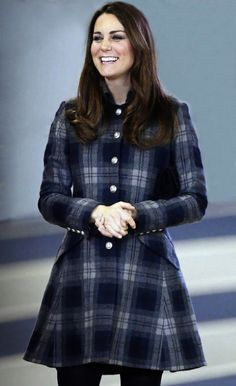 Impeccably dressed Kate ~ The Duchess of Cambridge arrived in Glasgow wearing tartan to tour one of the venues for events at the 2014 Commonwealth Games.  The five months pregnant royal, accompanied by her husband, the Duke, wore a pure wool blue and grey tartan coat.  It was created by Caroline Smiley, designer and founder of moloh.  3 April 2013