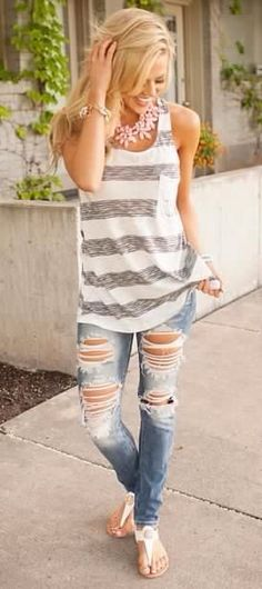 Summer outfit ideas striped top and ribbed jeans. cool cute summer outfits 2016 for womens - styles Komplette Outfits, Casual Outfits, Fashion Outfits, Womens Fashion, Fashion Trends, Jeans Fashion, Kimono Fashion, Woman Outfits, Modest Outfits