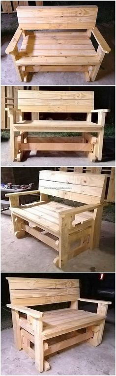 Effortless DIY Projects You Can Make with Shipping Pallets: The benches and tables had been whole designed with the wood pallet you would be finding it so extraordinary and notable looking. Pallet Benches, Pallet Couch, Wooden Pallets, Pallet Ideas, Pallet Projects, Diy Projects, Rustic Paint Colors, Dining Furniture Sets, Pallet Garden Furniture