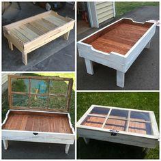Mesa de pallets hecha con ventana reciclada
