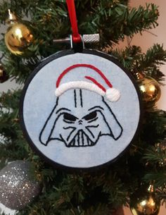 Embroidered Christmas ornament. Darth Vader ornament. Star Wars gifts. Nerdy Christmas tree decorations. Nerd gifts. Santa hat embroidery