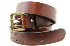 Made In USA Chestnut Show Harness Double Hole Leather Belt With An Old Brass Finish Roller Buckle