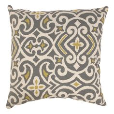 Pillow Perfect Grey/ Greenish-Yellow Damask Throw Pillow | Overstock.com Shopping - The Best Deals on Throw Pillows