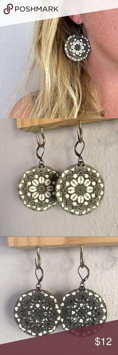 Metal Lace Earrings Silver pewter colored and white enamel earrings. Vintage feel. Jewelry Earrings