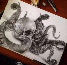~ Drawing Octopus ~ by James Watson Posseidon Tattoo, Biomech Tattoo, Sick Tattoo, Tattoo Drawings, Art Drawings, Kracken Tattoo, Mandala Tattoo, Octopus Tattoos, Octopus Art