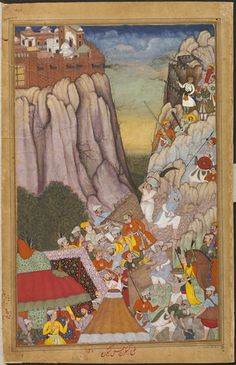 Akbarnama  Akbar, in white at top right of the page, directing the assault of the Mughal army on the Rajput fortress of Ranthambhor in 1569. by Karan, Khem ca. 1586 - ca. 1589 V&A