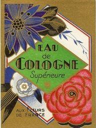 vintage perfume label, French, eau de cologne