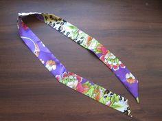 Purple Silk Twilly Scarf Handbag Tie Silk Tie 100% by SummerMatcha