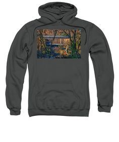 Autumn Foliage New England Sweatshirt featuring the photograph Fisher Covered Bridge In Vermont Autumn by Jeff Folger