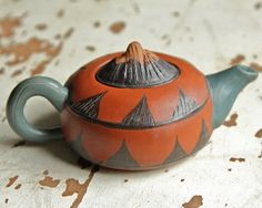 Yixing Chinese Individual Teapot - Red and Green Gourd Shape