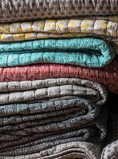 Boutis couvre-lit en coton imprimé indigo Natori Harmony