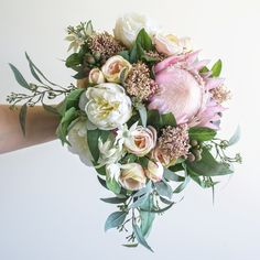 Bridal bouquet and buttonhole for Caitlin...beautiful soft pinks and creamy whites with native foliage, made by Sascha 😍👌