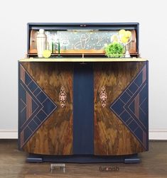 Art Deco Drinks Cabinet, Cocktail Cabinet or Bar, Burr Walnut, Refurbished and Hand Painted with an Art Deco Design in Navy Blue and Copper by LoulouRoseOriginals on Etsy Art Deco Bar, Art Deco Design, Art Deco Furniture, Hand Painted Furniture, Furniture Ideas, Diy Furniture Renovation, Furniture Makeover, Upcycled Furniture Before And After, Muebles Art Deco