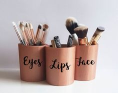 Beautifully hand painted rose gold makeup vanity decor The perfect organizer for your makeup brushes, lipsticks, eyeliners, etc... You can purchase each of them alone, or mix & match your own set, either with or without text. Just select the style and add to cart each item of your own set.