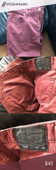 Men's maroon Levi's Men's maroon Colored Levi's can dress up or go casual! Pretty much brand new a little scuffs on bottom from dragging size is 34x32 levis Jeans Slim Straight