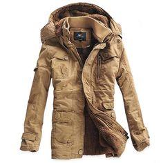 Men Outdoor Sport Coat Winter Fashion Thicken Cotton- Padded Jacket   www.banggood.com