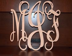 "24"" Vine Script Three Letter Monogram- Wood Letter monogram-home decor- wedding decor. $30.00, via Etsy."