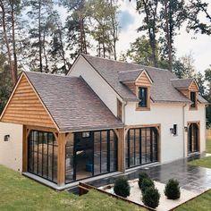 Cottage Extension, House Extension Design, House Design, Cout Extension Maison, Border Oak, Oak Frame House, House Cladding, Bungalow Renovation, Dream House Exterior