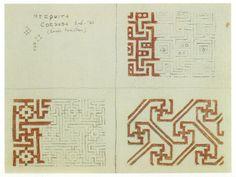 Sketches by Escher and his wife Jetta of Moorish designs in majolica tile. June 1936, La Mezquita de Córdoba, Spain