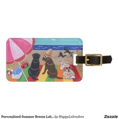 Personalized Summer Breeze Labradors Painting Tag For Bags